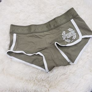 PINK Victoria's Secret Low Rise Boyshort Panty Camo Green w White Trim